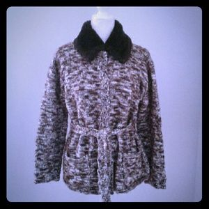 Fall Sweater by Emma James Brown Fur Cardigan M